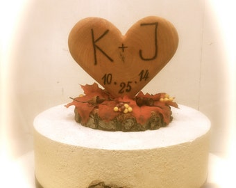 Fall Wedding Cake Topper Rustic Wooden Heart