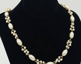 ON SALE Vintage Trifari Beaded Faux Pearl & Gold Tone Necklace - 18""