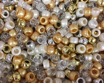 All The Glitters Wedding Mix 9x6mm Pony Beads Dummy Clips, Pram Charms