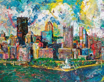 Pittsburgh Skyline, Pittsburgh art, man cave wall art, city skyline wall art, modern wall art, Print by Johno