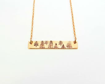 Forest of Trees Handstamped Copper Bar Necklace