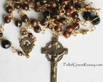 Man's Rosary, Masculine, Bronze, Wire-Wrapped, Red Tiger Eye, Onyx, Unbreakable, Catholic, 5 decade, Sacred Heart