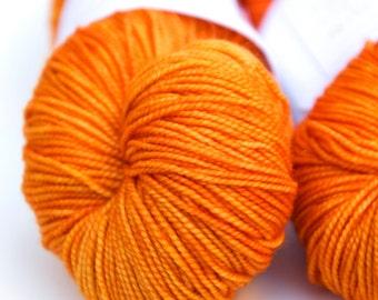 "Hand Dyed Yarn // Curious Sock (100% sw merino, fingering weight) // ""Fresh Squash"""