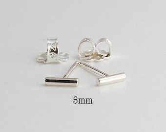 5mm Tiny Bars, Silver Bar Earrings, Bar Studs, Sterling Studs, Handmade Studs, Bar Studs Silver Stick, Everyday Earrings, 5 x 1.3mm