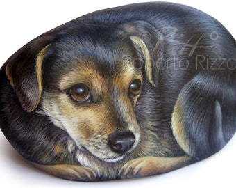 Pet Portraits on Commission | Hand Painted Dog Portrait on Stone by Roberto Rizzo