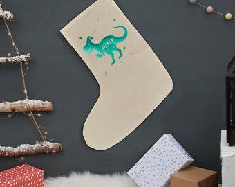 Christmas T Rex Stocking - Personalized Christmas Stocking - Christmas Decor - Personalized Christmas Sock - Christmas Decoration