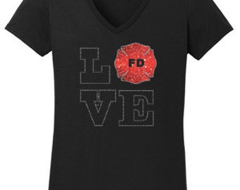 Fire Fighter Love Rhinestone T-Shirt Made to order