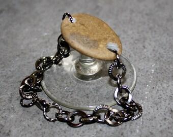 Beach Stone Bracelet- Fossil and Gunmetal Bracelet - On Sale Beach Stone Jewelry - Eco Friendly Gift One of a Kind Beaded Jewelry
