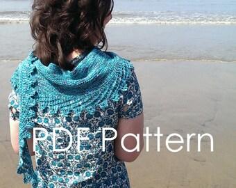 PDF Knitting Pattern - Sea Holly Shawlette