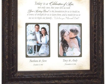 Wedding Decoration, Mother of the Bride Gift Parents Thank You Mom Dad Personalized Wedding Frame, wedding cake topper, cake toppers, 16x16