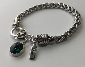 May Birthstone Braided Heart Clasp Charm Bracelet – Emerald Green Color Swarovski Crystal and May Charm – FREE U.S. Shipping!