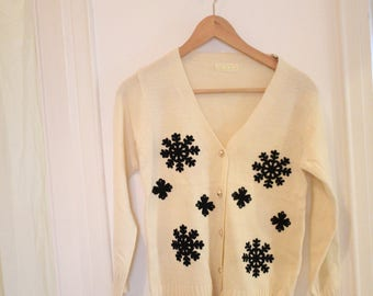 White cream and black snowflakes sweater cardigan with gold buttons