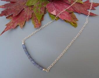 Tanzanite Necklace, Gemstone Bar Necklace, Dainty Gemstone Necklace, Silver Layering Necklace, Tanzanite Bar Necklace, Silver Tanzanite