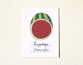 French Kitchen Art Home Decor illustration Summer Fruits Watermelon 5x7 art print French Retro Red sweet