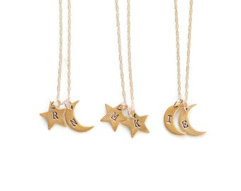 Moon and Star Necklace, Initials Necklace,Celestial Jewelry,Kids Initial Necklace,Mom Birthday Gift,Personalized Jewelry,Gift for her