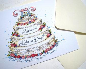 Personalized Wedding Congratulations Card - Wedding Cake Anniversary Card - Wedding Day Card - Bride and Groom Card
