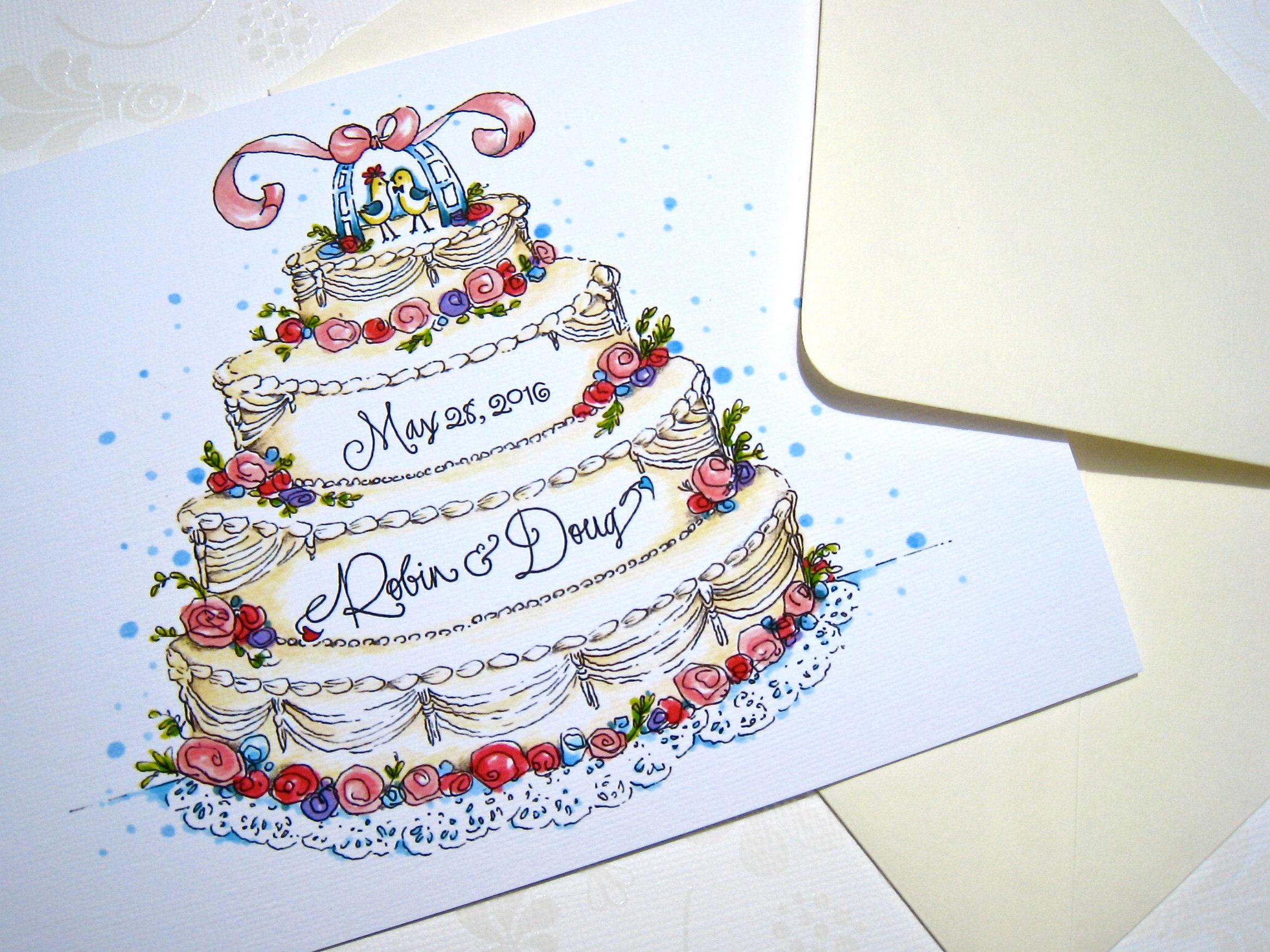 Personalized wedding congratulations card wedding cake