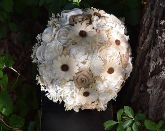 Wedding Bouquet Rustic Bouquet Burlap Bouquet Sola Bouquet Ivory Bouquet Rustic Bouquet Sola Bouquet Burlap Ready Bouquet Sola Daisy Bouquet