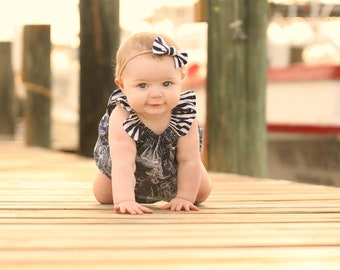 Nautical Romper, Sailboat Romper, Nautical, Baby Girl Romper, Bubble Romper, Toddler Romper, Birthday Outfit, Summer Romper, Baby Girl Gift