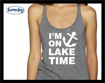 I'm On Lake Time. Racerback Workout Tank Top. Gym shirt. Exercise tshirt