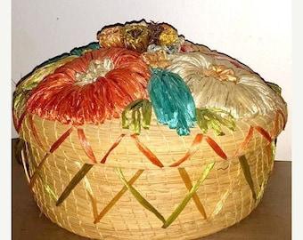 Vintage Floral Raffia and Wicker Covered Basket,Boho, Boho Sea Grass Basket,Woven Floral Basket, Large,Teal,Yellow, Orange,Raffia Basket