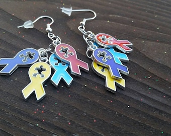 Autism Awareness Ribbon Enamel Charm Earrings - Support earrings - 925 sterling silver hook available