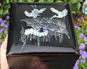 Vintage Black Lacquer Box Inlaid MOP Crane Birds