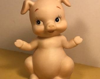 LEFTON PIG FIGURINE vintage porcelain miniature statue sculpture peach cute adorable piglet waving hello hi look at me