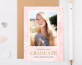 Graduation Party Gold Foil Graduation Invite Graduation Invitations Graduate Party Grad Party Invites High School Grad Grad Invitations