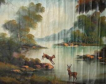 Large oil painting forest river landscape