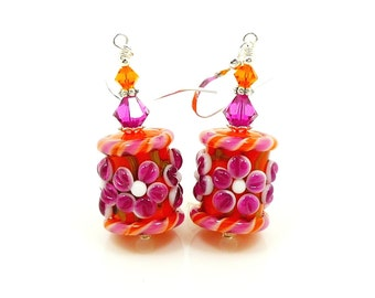 Pink Earrings, Floral Earrings, Bright Earrings, Glass Earrings, Glass Bead Earrings, Lampwork Earrings, Colorful Earrings, Barrel Earrings
