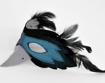 Felt and Feather Raven Mask   Bird Mask   Owl Mask   Bird Costume   Kids Costume