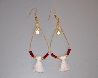 White and Red drop earrings