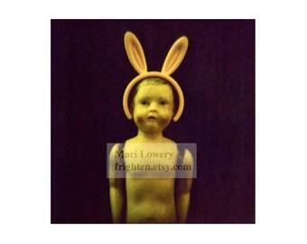 Creepy Cute Plastic Doll with Bunny Ears 5x5 Inch Holga Photography Print, Weird Easter Art