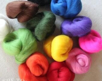 Mixed Wool Roving - 1.5 oz - Nuno Felting / Wet Felting / Felting Supplies / Hand Felting / Needle Felting / Fiber Supply / Fiber Art