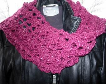 Metallic Scarf Purple and Lurex.  Hand Crocheted
