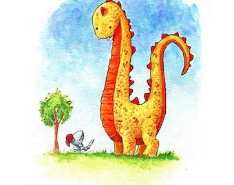 Tall Dragon Short Knight Watercolor Print