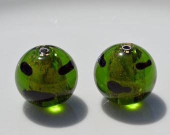Dark Olive Green Leopard Czech Lampwork Beads 2