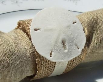 Tiny Sand Dollar Burlap Napkin Ring - Beach Wedding - seashore - shells