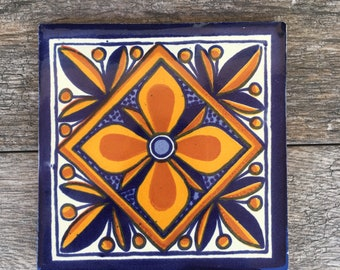 Blue and Orange Mexican Tile Trivet