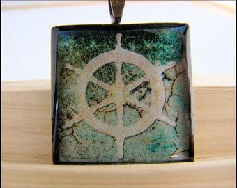 Resin Pendant, Wooden Boat Wheel