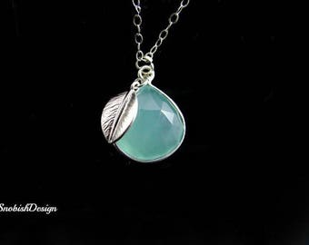 Aquamarine Necklace, Leaf Necklace, Leaves Necklace, Mint Necklace, Minimal Necklace, Pendant Necklace, Blue Necklace, March Birthstone,