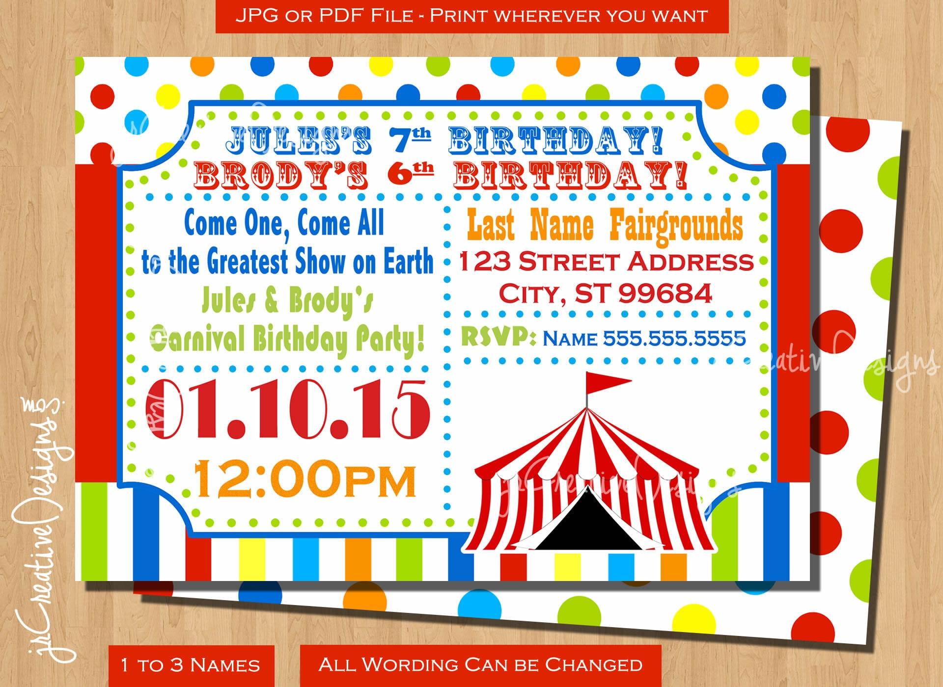 Circus birthday invitation Circus invitation Carnival