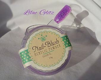 Acrylic nail powder Lilac Glitz 15g by Nail-Blush