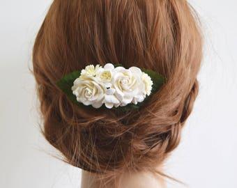White Flower Comb, white bridal floral comb, bridal hair accessory, bridal headpiece, bridesmaid, white headpiece- EMMA