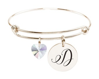 Initial Bangle made with Crystals from Swarovski - D - SWABANGLE-RGD-AB-D - Gold
