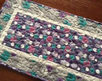 Grey Purple Teal Quilted Table Runner, Spring Table Runner, Modern Table Runner,