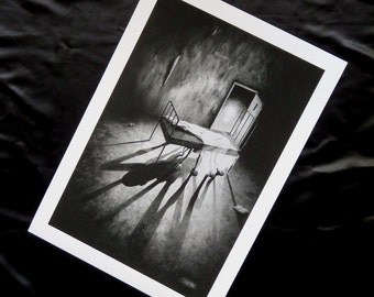 Large print of Stephen Under The Bed, giclee print, horror art, horror print, fantasy art, monster art, monster print, black and white