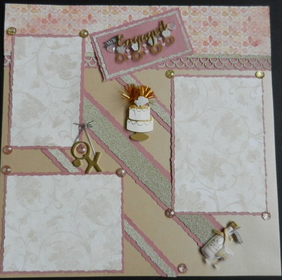 Were Engaged Engagement 12x12 Premade Scrapbook Page