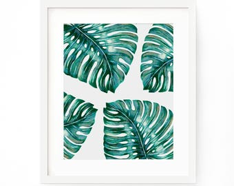 Monstera Deliciosa Leaf Print, Monstera Art Print, Tropical Leaf Print, Pal Tree Leaf Art, Botanical Wall Art, Troical Palm Print